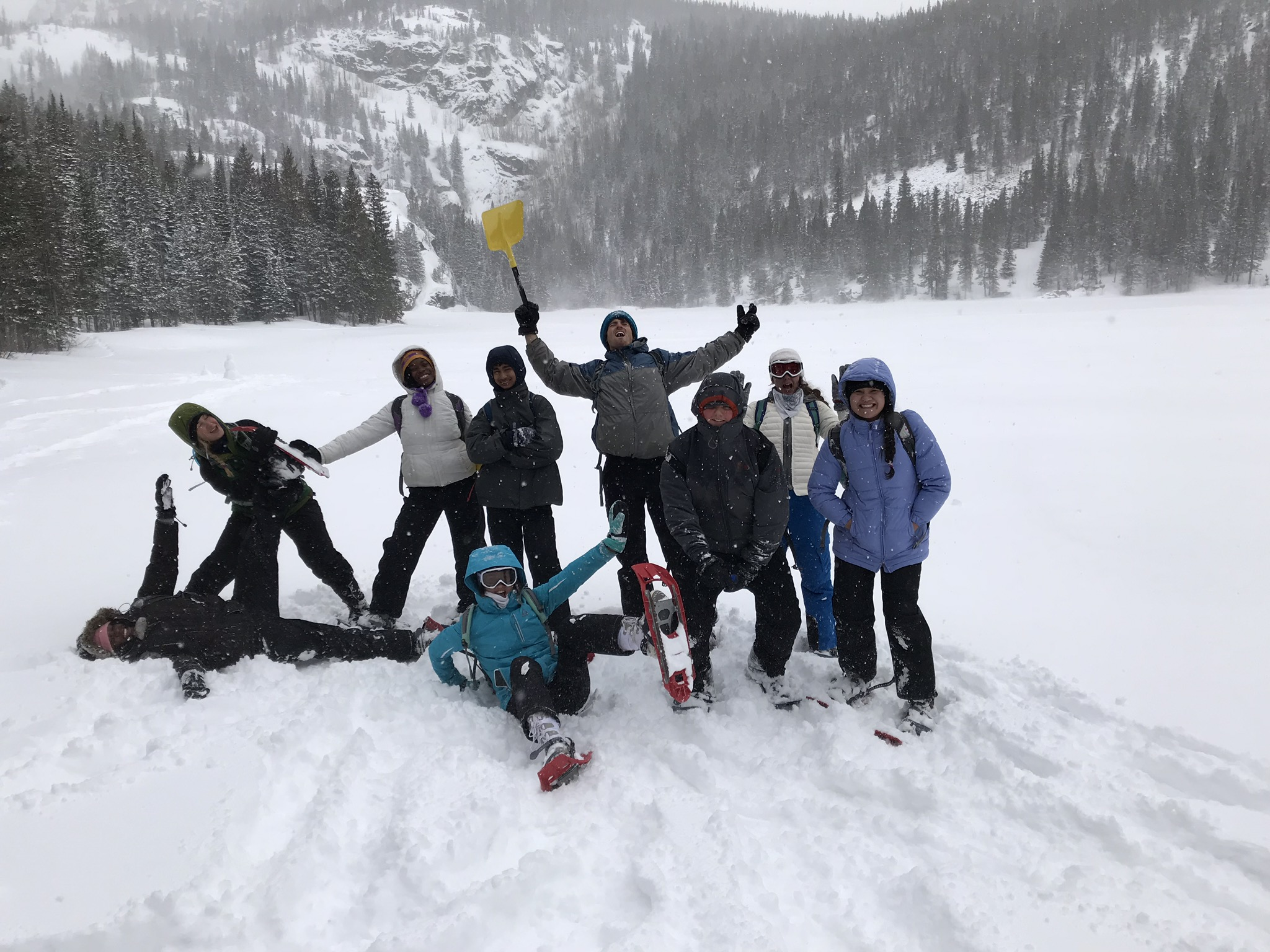 Teens serving their community and having fun in the snow.